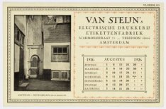 Reklame van fa. van Steijn met een afbeelding van Brouwersgracht 83-87 en de Pos…