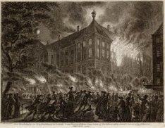 Het Stadshuis te Amsteldam in brand, 's nachts tusschen den 12 en 13 October 176…