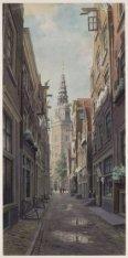 De Sint Annendwarsstraat met de Oudekerkstoren