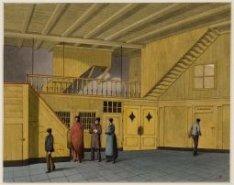 Het interieur van het Binnengasthuis aan de Grimburgwal, met het voorportaal tot…
