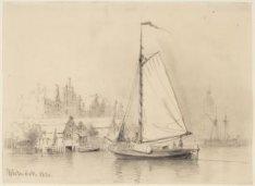 Westerdok gezien in zuidwestelijke richting; Links de achterkant van de Haarlemm…