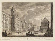 Gezicht van het Nieuwe Stadhuis, de Nieuwe Kerk en de Waag op den Dam