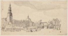 Gezicht vanaf het IJ op de Haringpakkerij, Haringpakkerstoren en de Haarlemmersl…