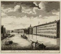 """De Binnen Amstel,van de Blaauwe-brug, naa het Diaken huys te zien."""""""