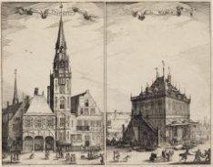 Het oude stadhuis en de waag op de Dam. Een dubbelprent