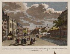 De Deventer houtmarkt en de Muidergracht gezien in westelijke richting naar de b…