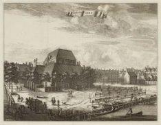 De Amstelkerk op het Amstelveld  gezien vanuit een pand op de kruising van Prins…