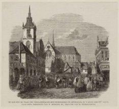 De Dam met de Waag (de Vergaderplaats der Rederijkers) te Amsterdam, in ''t begi…