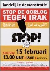 Stop de oorlog tegen Irak. Oproep voor een protestbijeenkomst op de Dam