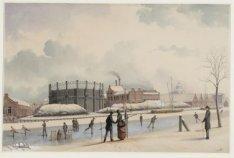 Singelgracht met de Hollandse Gasfabriek en op de achtergrond het  Paleis voor V…