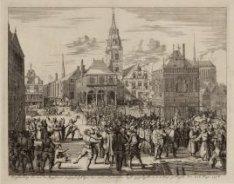 D''afbeelding hoe men de Magistraet en Geestelykheyt der stadt Amsterdam heeft u…