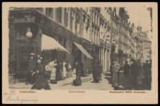 Kalverstraat 152-188 vanaf op de achtergrond Spui naar kruising Heiligeweg op de…