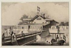"""""""De Zwemschool is opgerigt in 1845 aan den buitenzijde van de Westelijken Afslui…"""