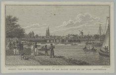 Gezigt van de Utrechtse zijde op de Hooge Sluis en de stad Amsterdam