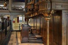 Interieur Oude Lutherse Kerk, Singel 411. Speeltafel van het orgel