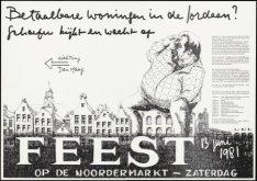Affiche voor het Noordermarktfeest op zaterdag 13 juni 1981