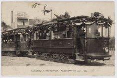 Versiering Gemeentetram; Juliana Feesten mei 1910
