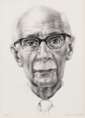 Portret van Dr. A.L.J. Sunier, oud-directeur van Artis. Techniek: litho