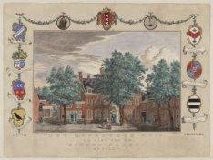 Het Leproozen-Huis, te zien van de Binnen-Plaats MDCCLV