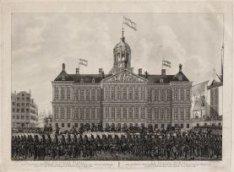 De aankomst van Koning Lodewijk Napoleon voor het Koninklijk Paleis, Dam 14 op 2…