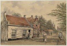 Lange Bleekerspad gezien naar de RK-kerk van de Heilige Barbara, Bilderdijkstraa…