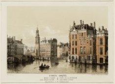 De Binnen-Amstel gezien naar de Munttoren, Muntplein met rechts de Engels Huizen