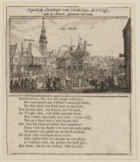 Figuerlijcke afbeeldinghe van ''t Stadt-huys, de VVaegh, ende de Marckt, ghenaem…