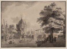 De Schreyer Hoek Tooren van de Gelderse Kaay na het Y te Amsterdam (verso)