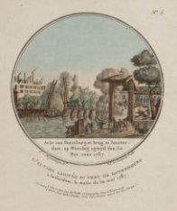 Actie aan Kattenburger brug te Amsterdam, op Woesdog ogtend den 30 Mey, anno 178…