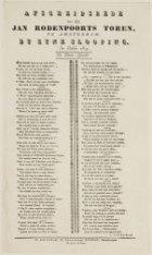Afscheidsrede van den Jan Rodenpoorts Toren, by zyne slooping. In October 1829