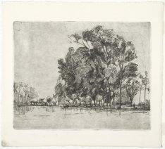Landschap met bomen langs een rivier, mogelijk de Amstel. techniek: ets