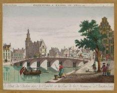 Le pont du Doelen avec le Rondel et la Tour de la Monnoye a Amsterdam