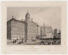 Noordwestzijde van de Dam 6-10, de Nieuwe Kerk en het Koninklijk Paleis, gezien …