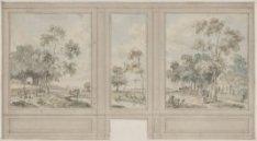 Wandontwerp met drie behangselvakken, met doorlopend landschap