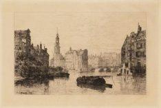 Gezicht op de Amstel naar het Schapenplein (tegenwoordig Muntplein) met de Muntt…
