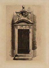 Gezicht op het poortje van de Metselaarsgilde van de Sint Antonieswaag. De afbee…