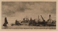 IJ-Haven gezien naar de Oostelijke Handelskade met het gebouw van de Koninklijke…