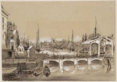 De Amstel gezien in zuidelijke richting naar respektievelijk de Blauwbrug, Mager…