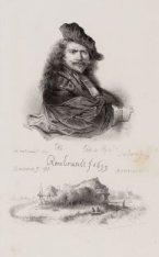 Portret van schilder Rembrandt van Rhijn (1606-1669), met onder een schets van e…