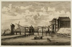 De Amstel en de Tweede Regulierspoort even ten zuiden van de Blauwbrug in westel…