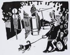 Vrouw met hond bij de ingang van het Vondelpark