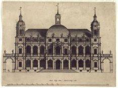 Niet uitgevoerd ontwerp voor het nieuwe Stadhuis, aanzicht van de voorgevel. Tec…