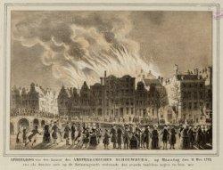 Afbeelding van den Brand des AMSTERDAMSCHEN SCHOUWBURG, op Maandag den 11 Mei 17…
