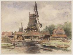 """De paltrokmolen """"Het Anker"""" aan de Singelweg (later: Nassaukade), gelegen tegeno…"""