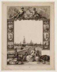 Allegorie op Scheepvaart en Handel van Amsterdam met profiel van de stad.  In he…