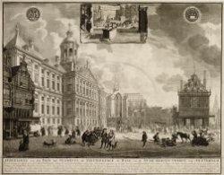 Afbeelding van den Dam, het Stadhuis, de Nieuwe-Kerck, de Waag, en de Oude-Kerck…
