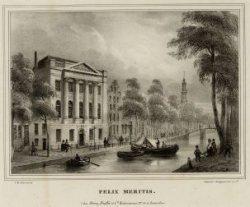 Het verenigingsgebouw Felix Meritis aan de Keizersgracht nummer 324 gezien naar …