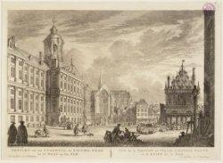 Gezicht van het Stadhuis, de Nieuwe Kerk en de Waag op de Dam