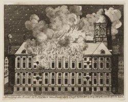 Afbeelding der Brand in ''t Stadhuis van Amsterdam, s''nagt tussen den 12 en 13 …