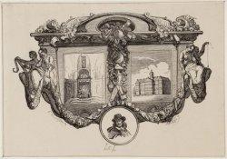 Zinneprent en titelprent met Paleis op de Dam, graf van Michiel de Ruyter in de …